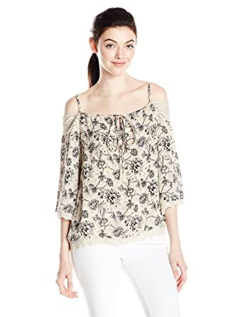 0c2e5085e26470 Angie Women's Printed Cold Shoulder Top with Lace and Tassels at Amazon  Women's Clothing store: