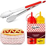 The Candery All-in-One Hot Dog Accessories Set- Ketchup & Mustard Squeeze Bottles - BBQ Tongs - 50 Red/White Hot Dog Trays fo