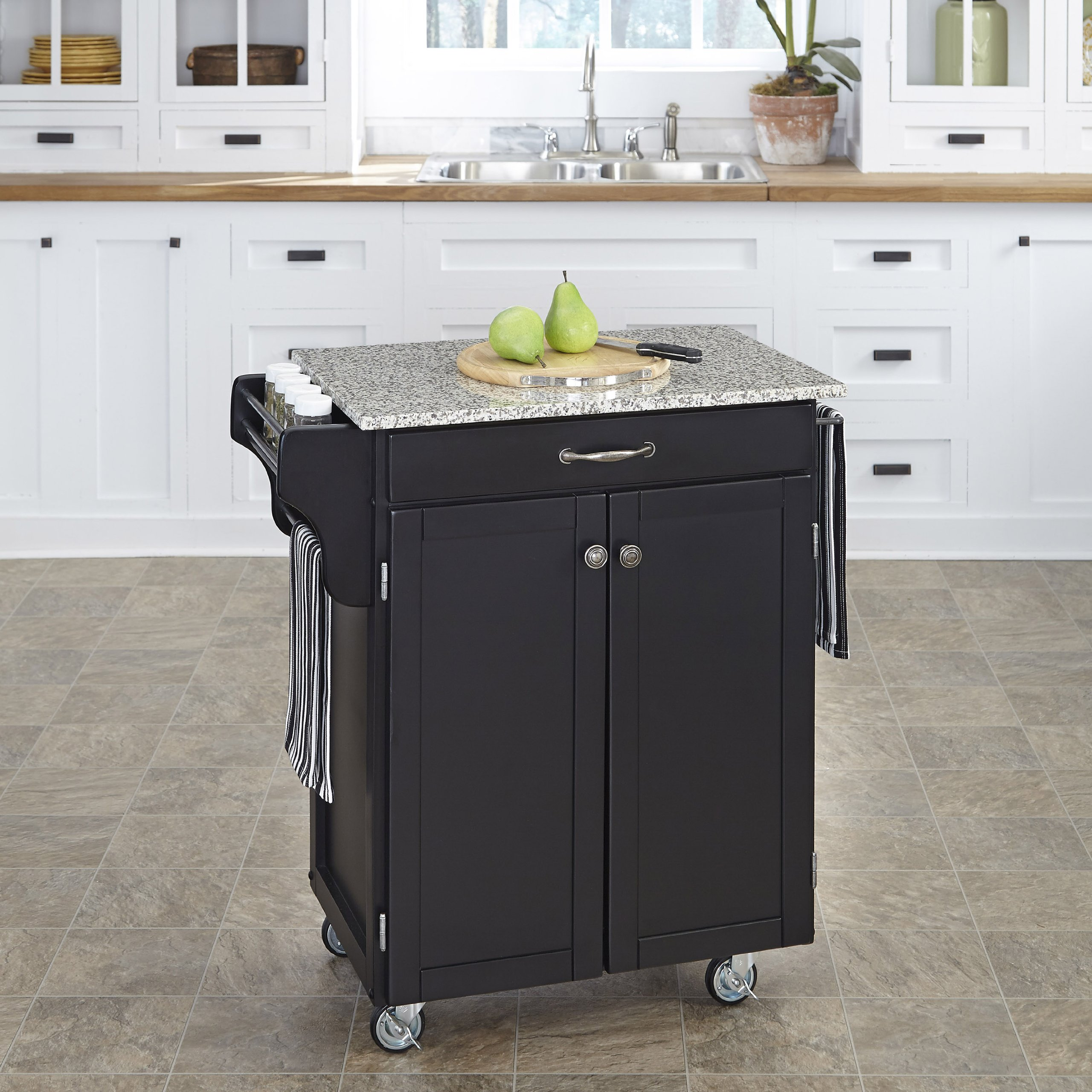 Home Styles 9001-0043 Create-a-Cart 9001 Series Cuisine Cart with Salt and Pepper Granite Top, Black, 32-1/2-Inch by Home Styles (Image #2)