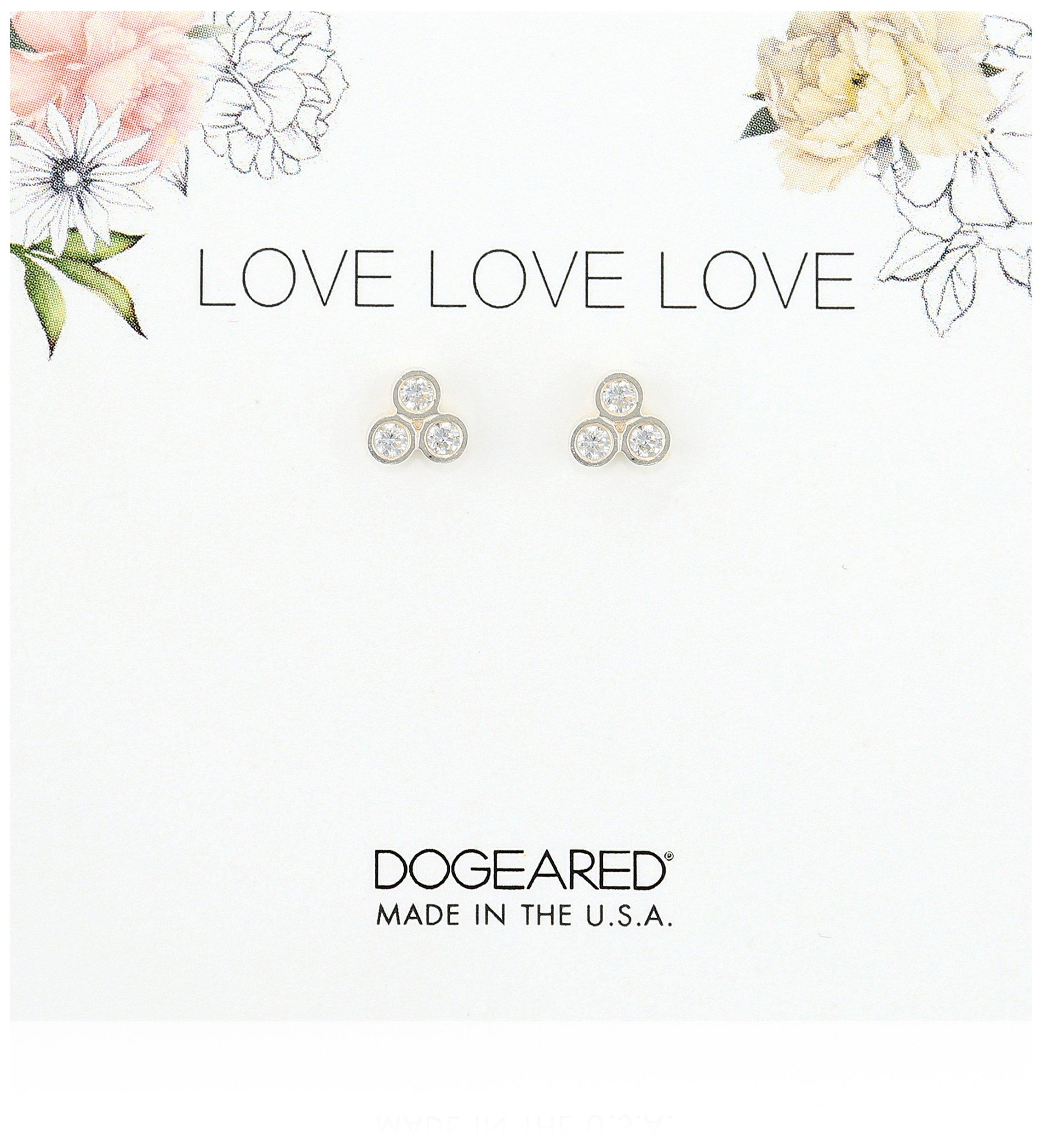 Dogeared Love Trio Stud Earrings, Sterling Silver