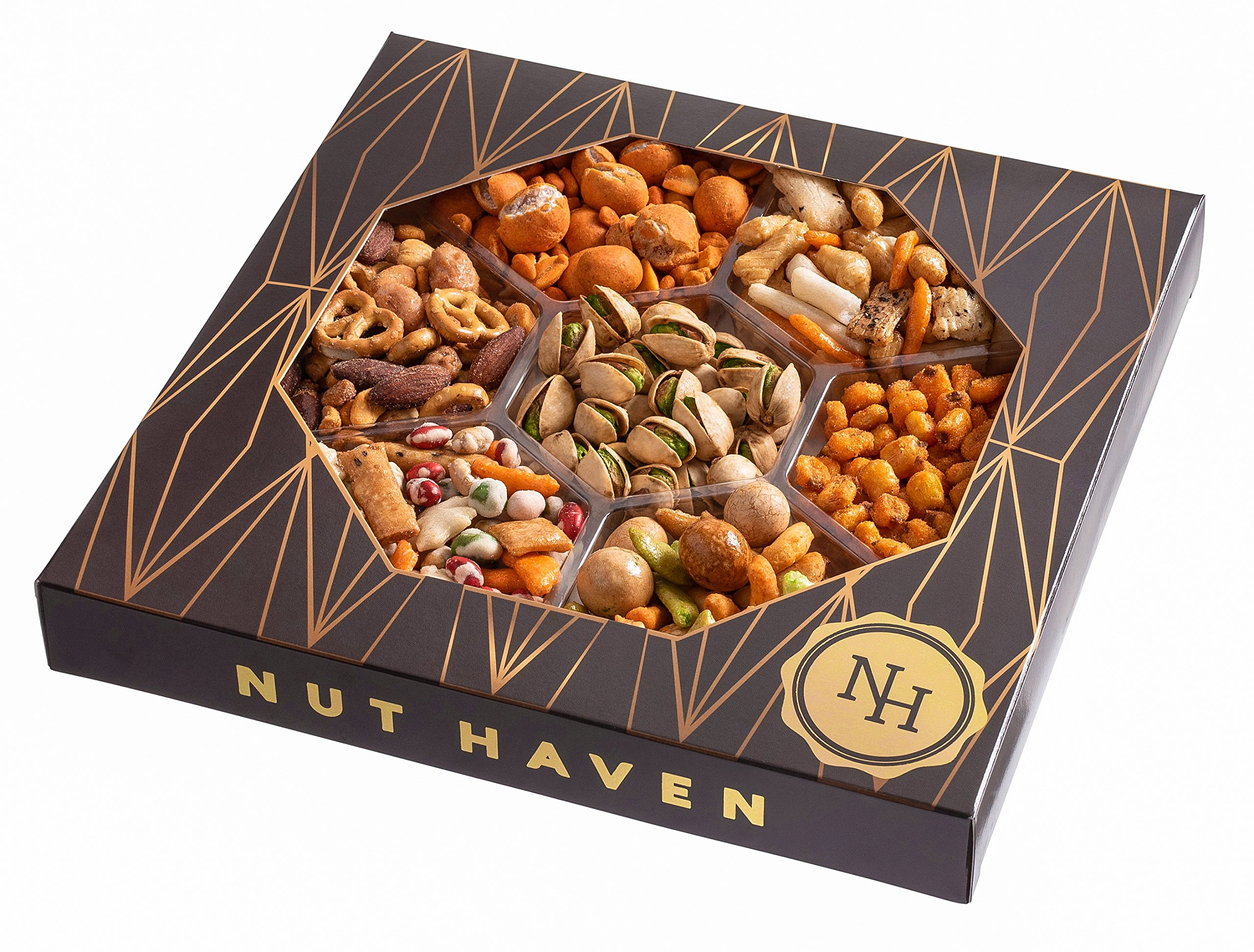 The Nut Haven Gourmet Party Mix Nut Gift Basket/Box ~ variety of freshly roasted 7 section nut tray ~ Great for: Corporate, Holiday, Birthday, Get well, Thank you, Men & Women, snack ~ Prime by Nut Haven