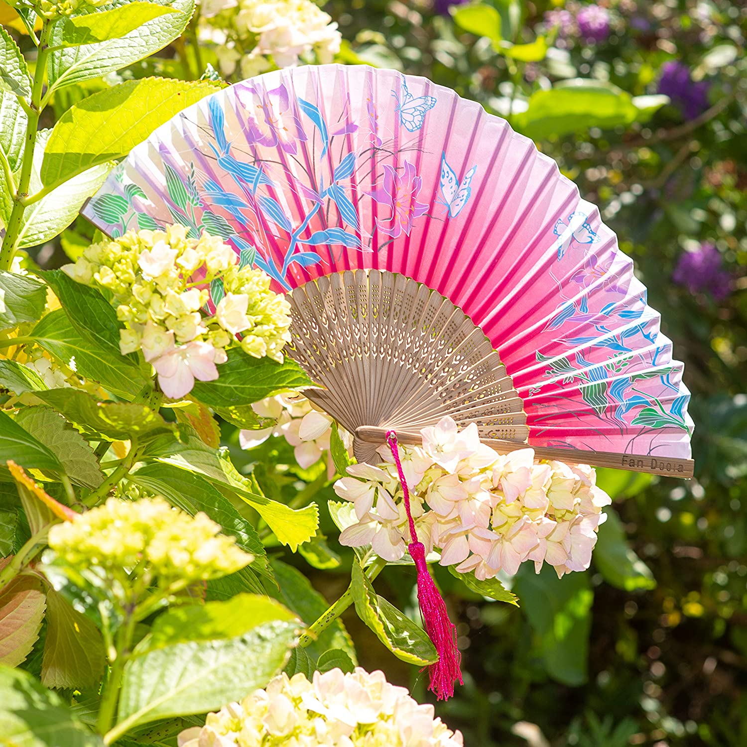 Comes in Gift Box with Drawstring Pouch Handheld Chinese Folding Bamboo Hand Fan by Fan Doola/™ Cerise Pink with Butterfly//Flower Design