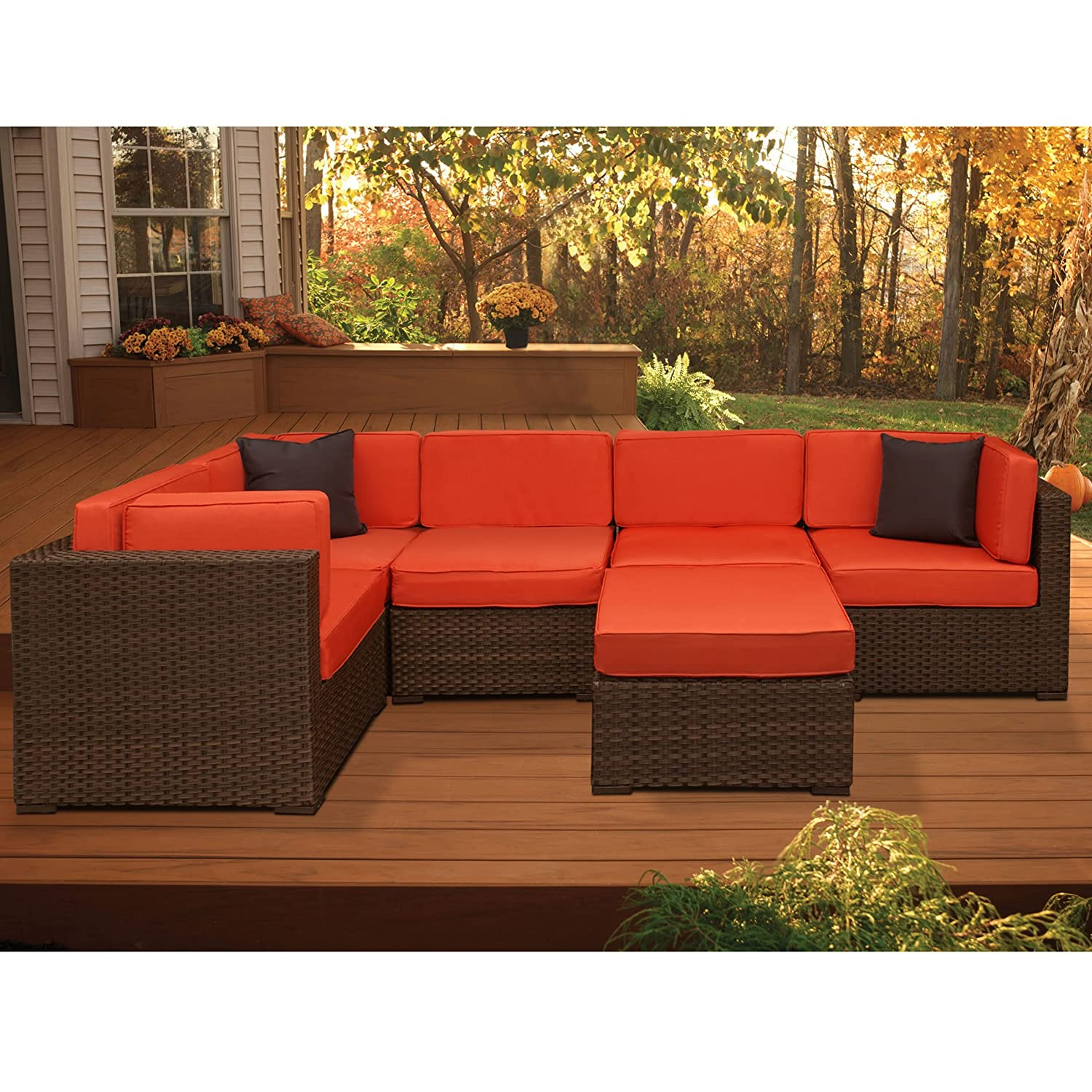 Amazon Atlantic Bellagio 6 Piece Outdoor Sectional Orange
