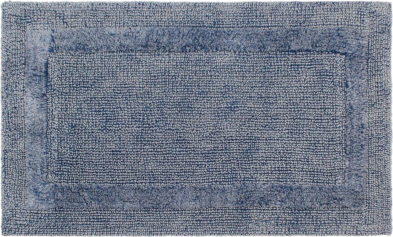 French Connection Stonewash Cotton Bath Rug, 17 in. x 24 in, Navy