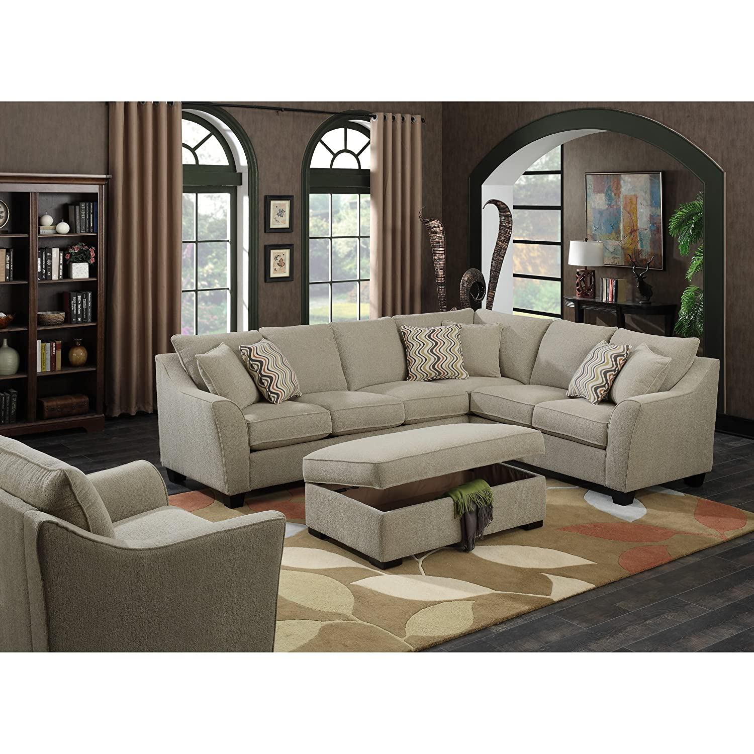 Amazon Emerald Home Cream Sectional with Pillows Loose