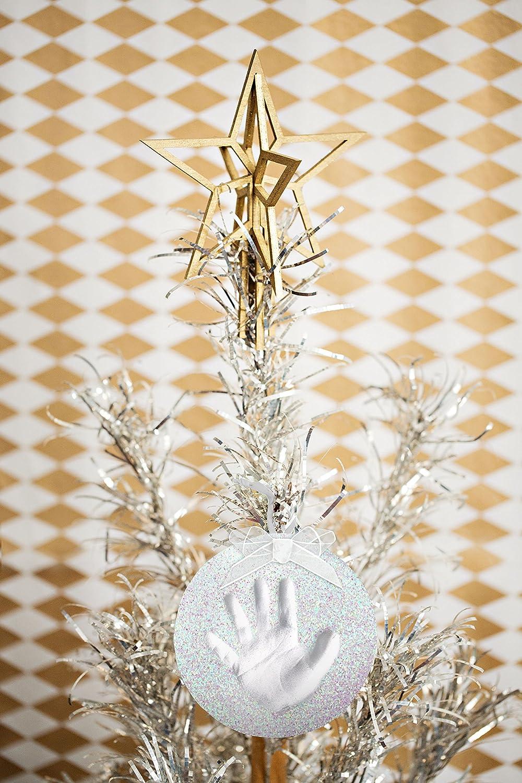 Perfect Holiday Keepsake Pearhead Babyprints Newborn Baby Handprint or Footprint Glitter Ornament Silver