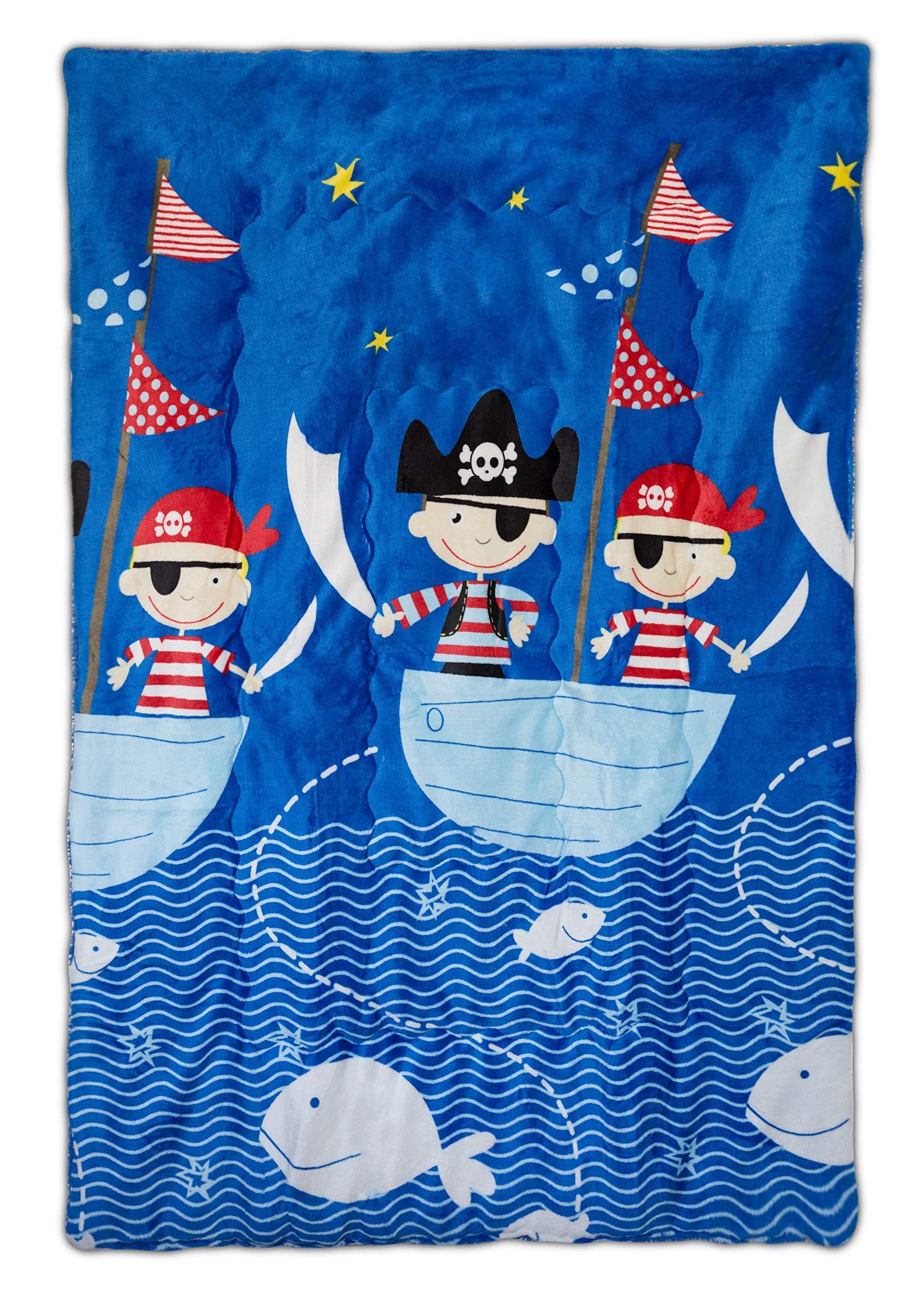 Elegant Home Blue Red White Black Pirates Ocean Ship Design Kids Soft & Warm Sherpa Baby Toddler Boy Blanket Printed Borrego Stroller or Baby Crib or Toddler Bed Blanket Plush Throw 40X50# Pirates