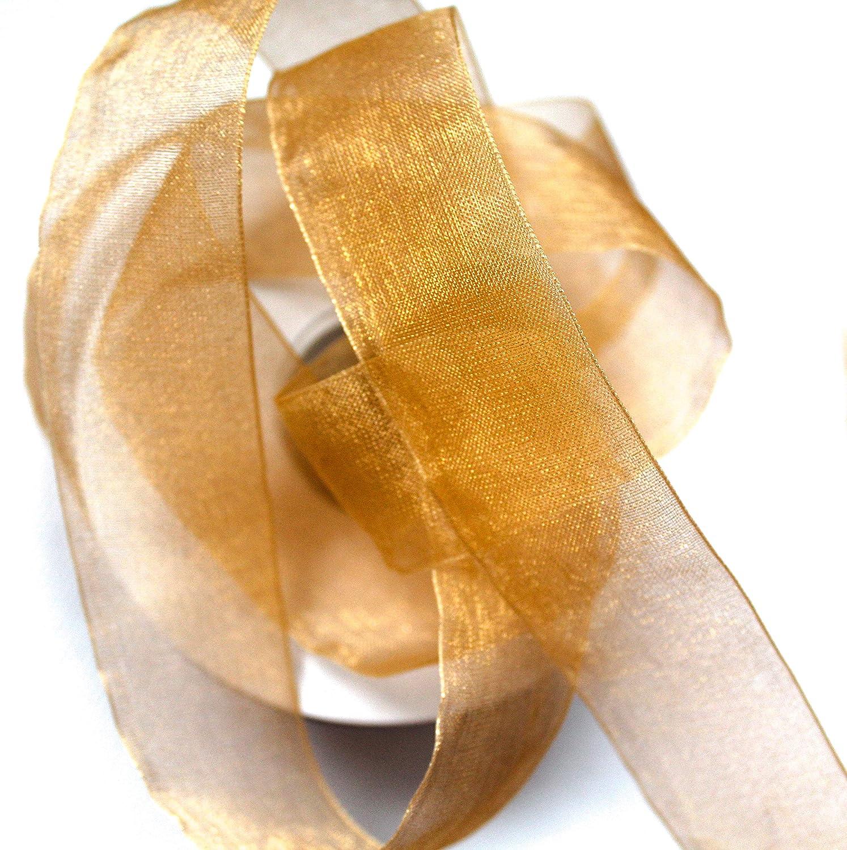 25 m Cinta de Organza 2,5 cm de Ancho con el Borde Plata