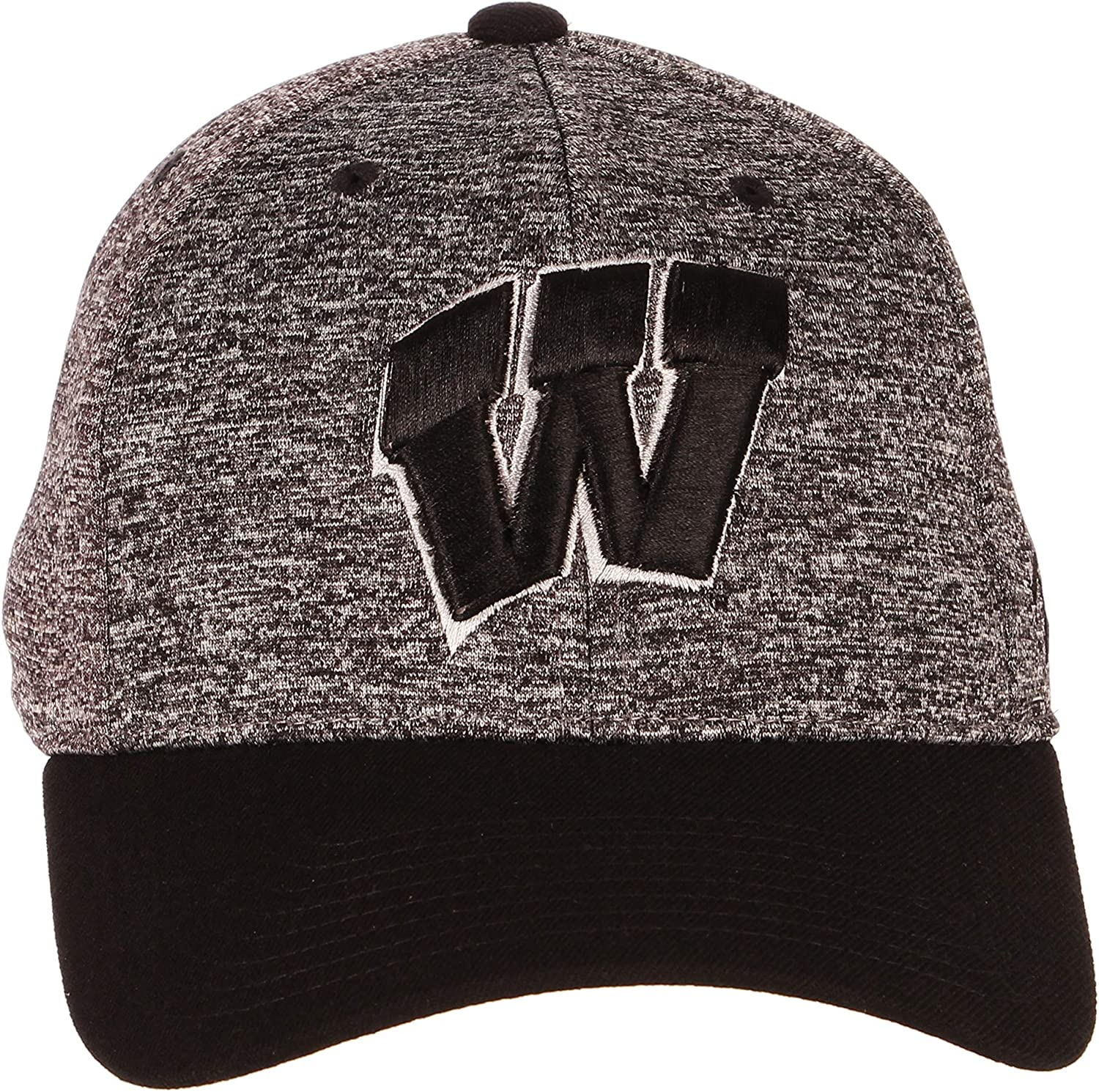 Medium//Large Charcoal//Black Zephyr NCAA Wisconsin Badgers Mens Interferenceinterference Z-Fit Cap