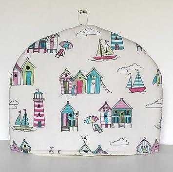 """Cobertor para tetera """"Happy Days"""" con diseño de caseta de playa"""