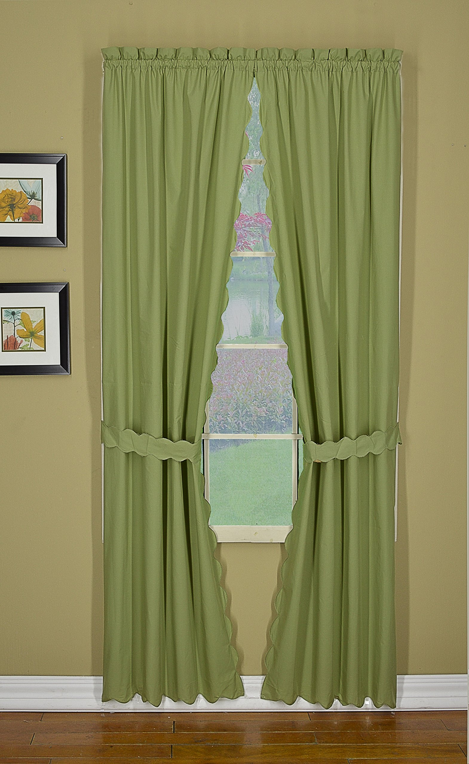 Today's Curtain CA2003K Orleans Panel Pair with Tiebacks Tambour Scallop Edge Curtain, 60'' x 63'', Sage