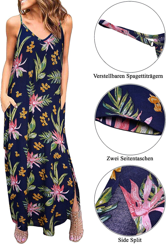 Odosalii Damen Maxikleider V-Ausschnitt Sommerkleid /Ärmellos Strandkleid Lange Taschen Kleid mit Schlitz