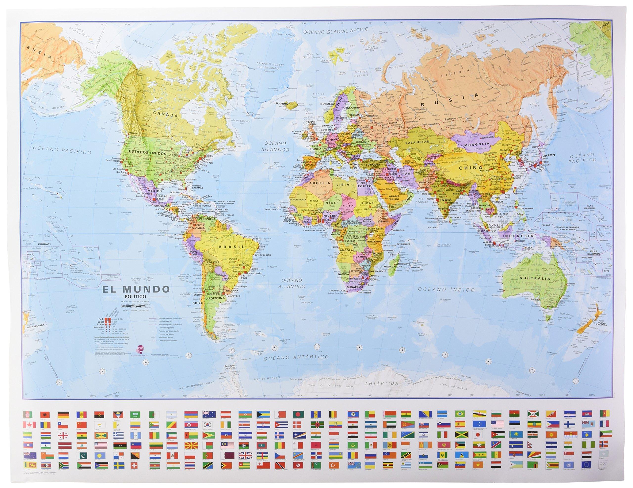 Mapa mural del Mundo castellano con banderas 68x53 cm escala 1:60.000.000. Maps International.: Amazon.es: VV.AA.: Libros