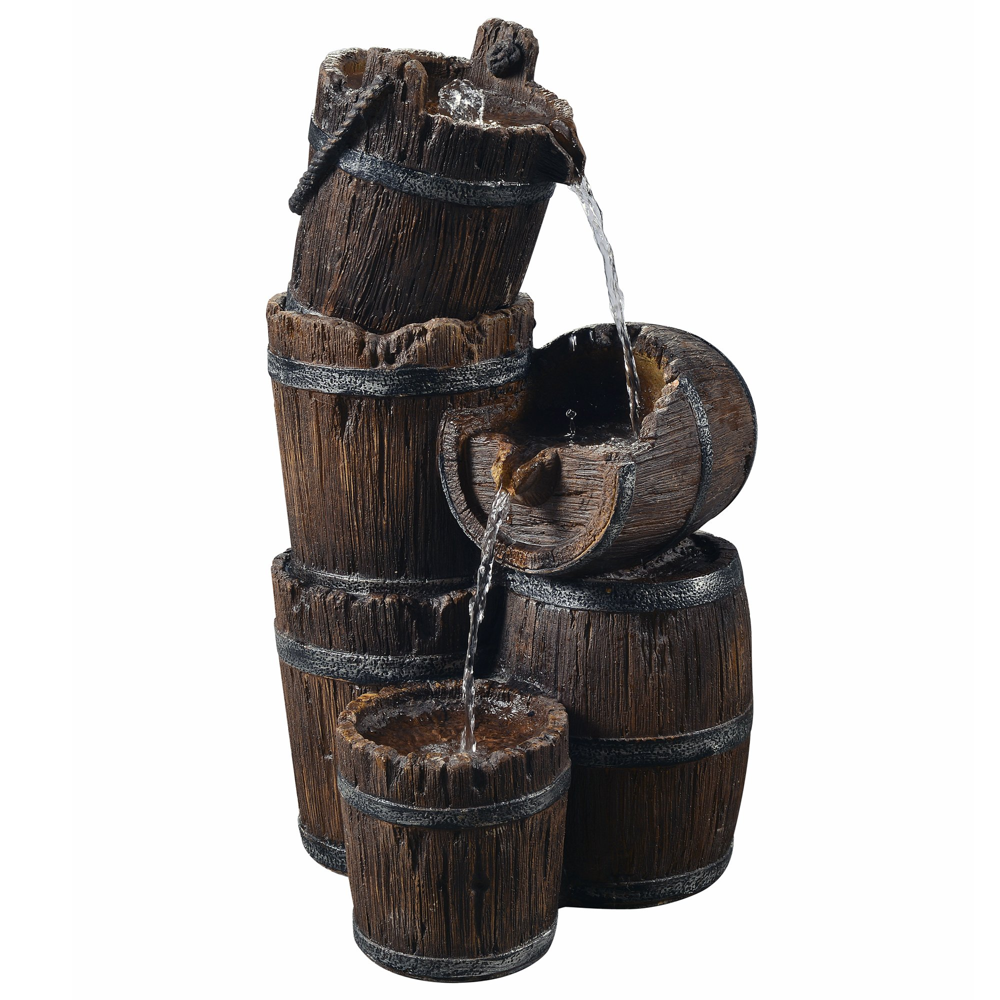 Peaktop Outdoor Vintage 3-Tier Barrel Waterfall Fountain by Peaktop