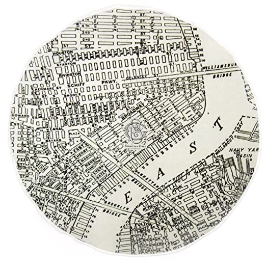 Pocket Square 100 Cotton New York East River Map Round Pocket By