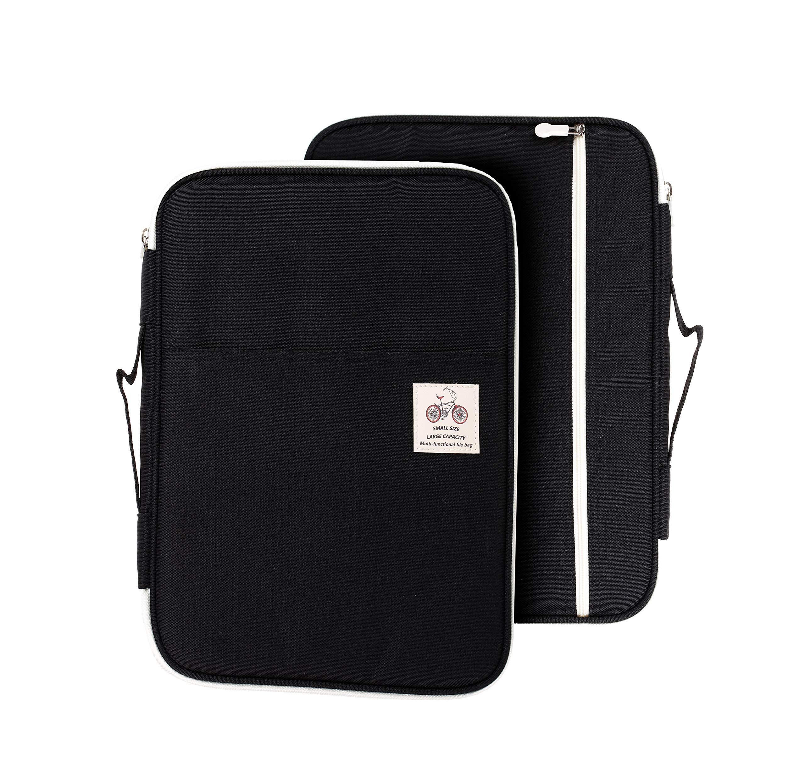 Lazyaunti Document Portfolio Padfolio Folders Organzier Binder Multi Function Waterproof Travel Pouch Zipper Case for Laptop, Ipad, Kindle, Notebook, Pen (Black)