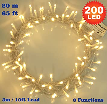 indoor string lighting. fairy lights 200 led warm white christmas tree indoor string 8 functions 20m lighting