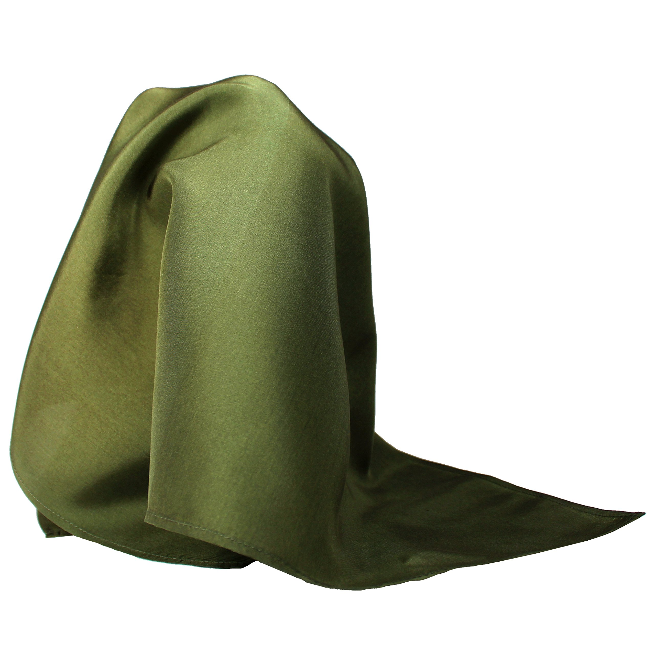 Fine Olive Green Silk Pocket Square - Full-Sized 16''x16''