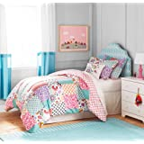 3 Piece Girls White Pink Boho Patchwork Comforter Full Queen Set, Purple Teal Damask Trellis Design Shabby Chic Moroccan Pattern, Kids Bedding For Bedroom Floral, Modern Cheerful Teen Themed Polyester