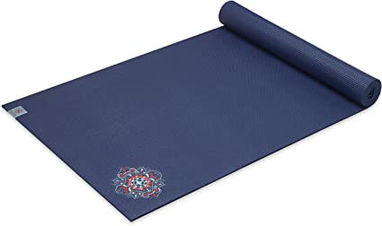 Amazon Com Gaiam Yoga Mat Premium Embroidered Extra Thick Exercise Fitness Mat For All Types Of Yoga Pilates Floor Exercises Floral Denim 6mm Sports Outdoors