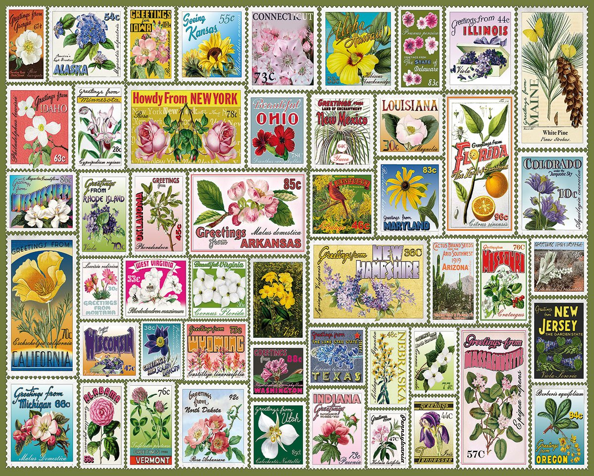 1000 Piece Jigsaw Puzzle White Mountain Puzzles State Flower Stamps