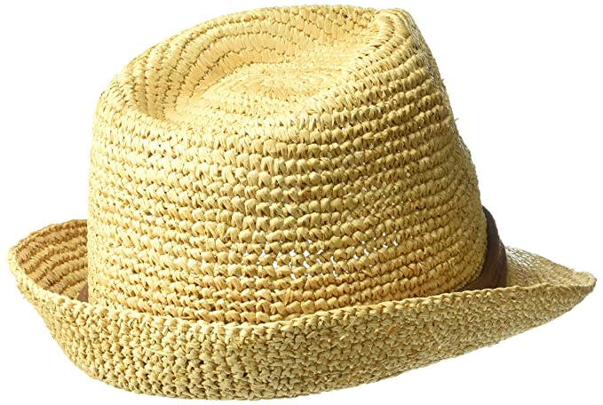 79f9f038 ale by Alessandra Women's Marin Crochet Raffia Fedora Sunhat Packable &  Adjustable, Natural/Brown, One Size at Amazon Women's Clothing store: