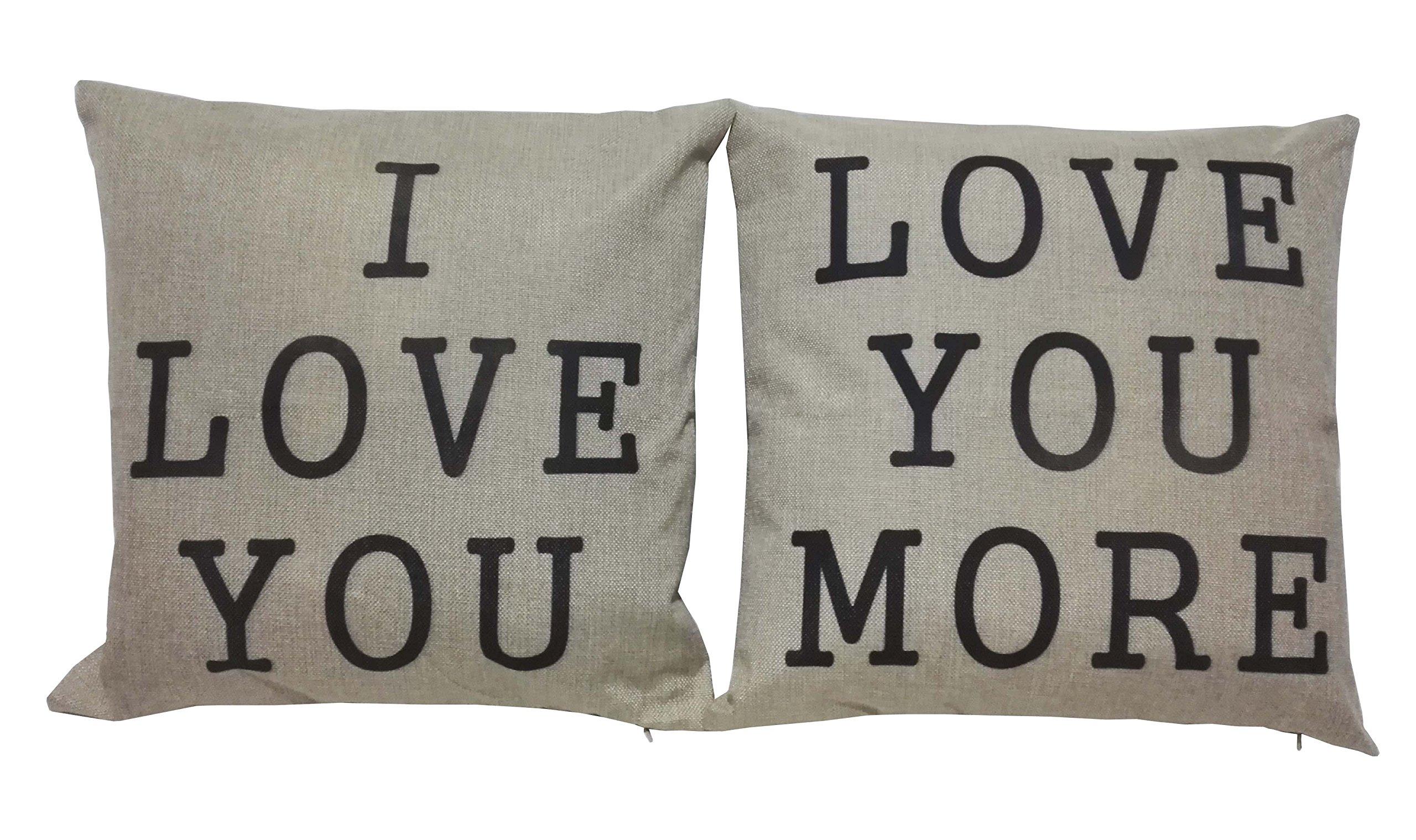 Lydealife (TM)18 X 18'' Cotton Linen Decorative Couple Throw Pillow Cover Cushion Case Couple Pillow Case, Set of 2 - I Love You & Love you More LD094