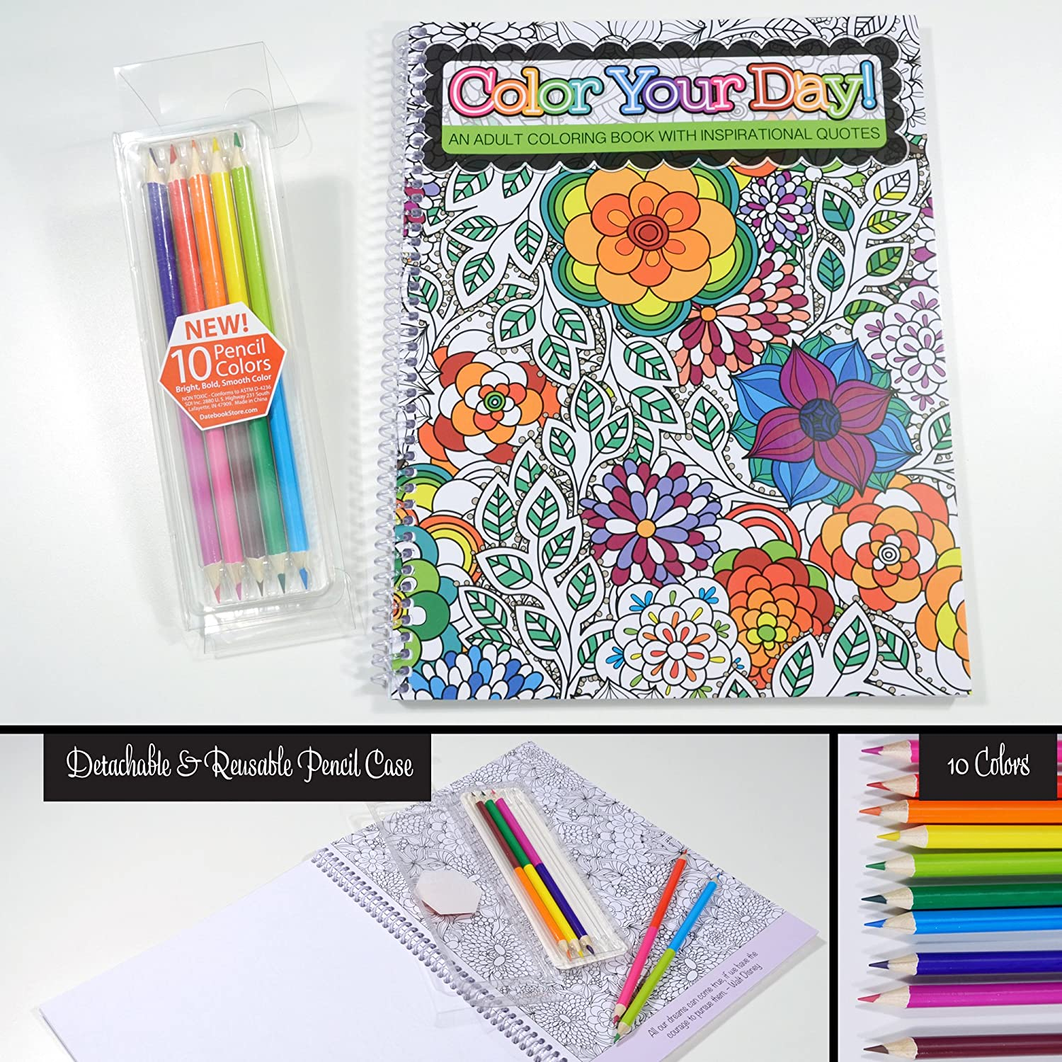Adult coloring book with quotes - An Adult Coloring Book Includes Colored Pencils Inspirational Quotes Spiral Bound 8 5 X 11 Office Products