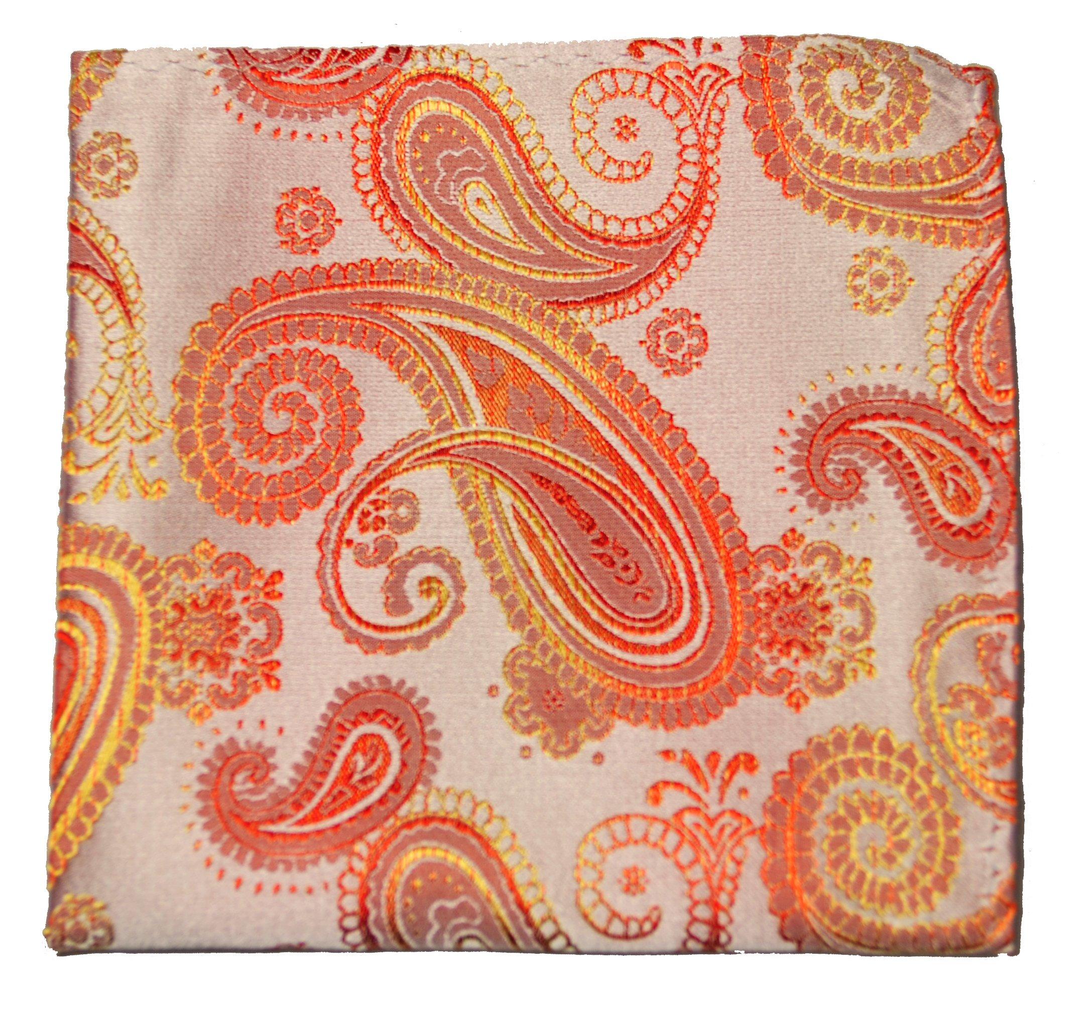 Mens Pocket Square Handkerchief 100% Silk . Coral Paisley