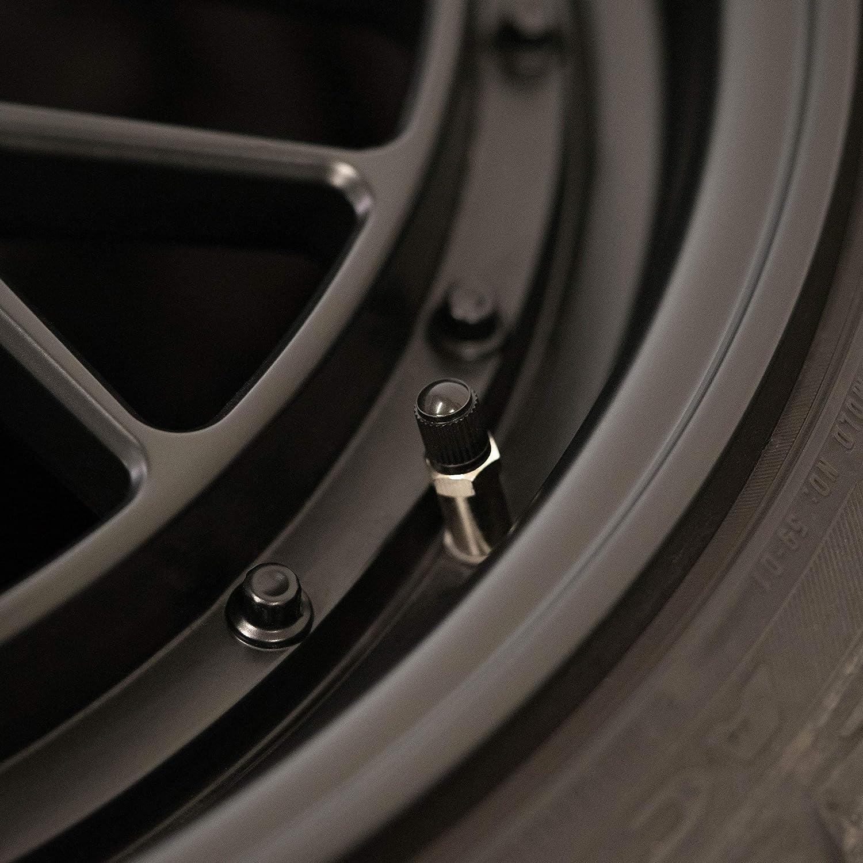 CAREApro /® 16X Basic Ventilkappen Auto Schwarz Rostfrei ABS-Kunststoff Auch geeignet als Fahrrad Ventilkappen