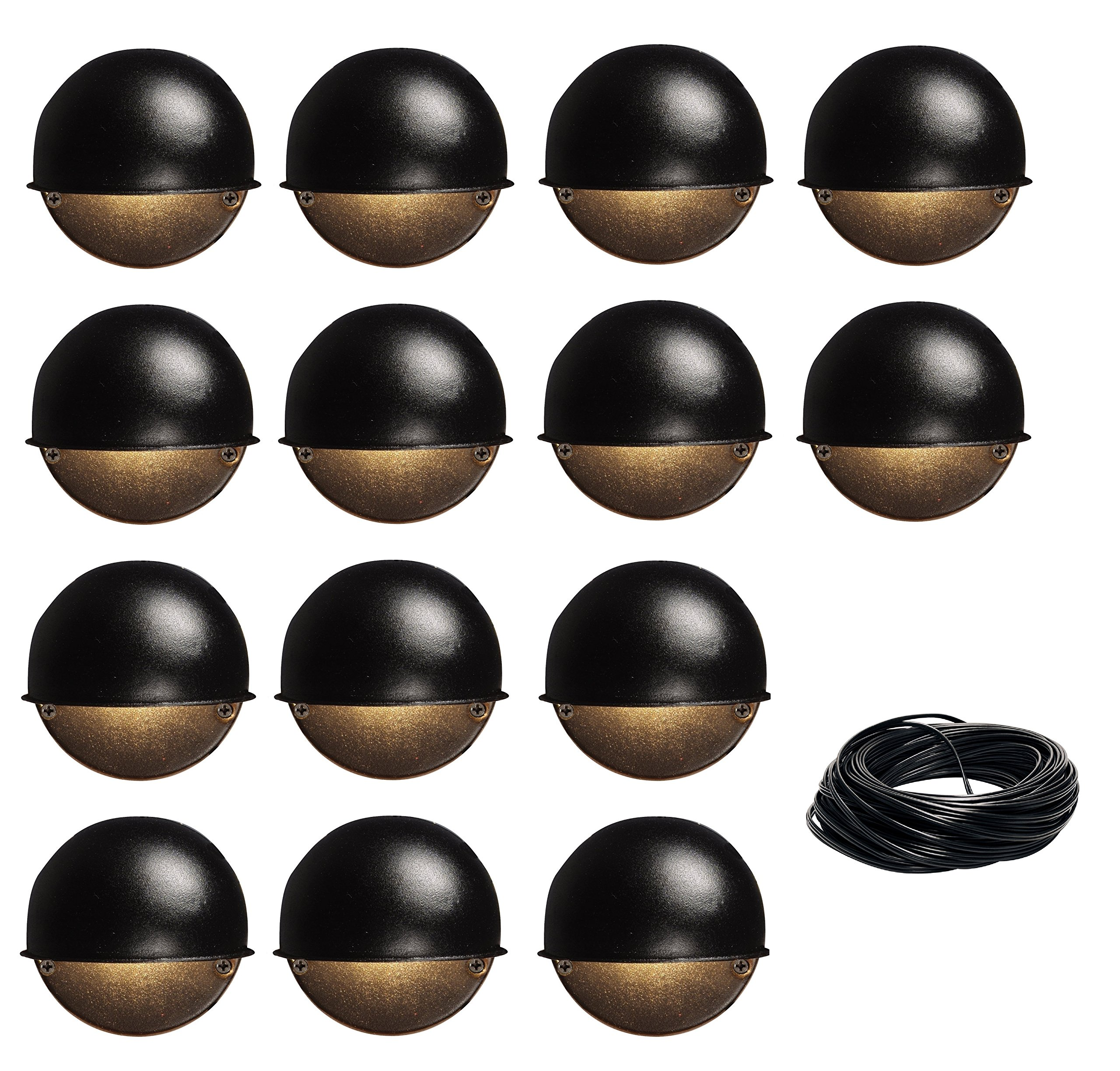 14 Pack Malibu 8301-9400-01 Surface Deck Step Path Lights, Round, Cast Metal, 7 Watt, Black Finish + 100 ft landscape wire BY MALIBU DISTRIBUTION