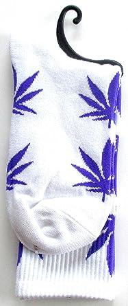 Calcetines Weed marihuana diseño blanco con color morado hojas: Amazon.es: Iluminación
