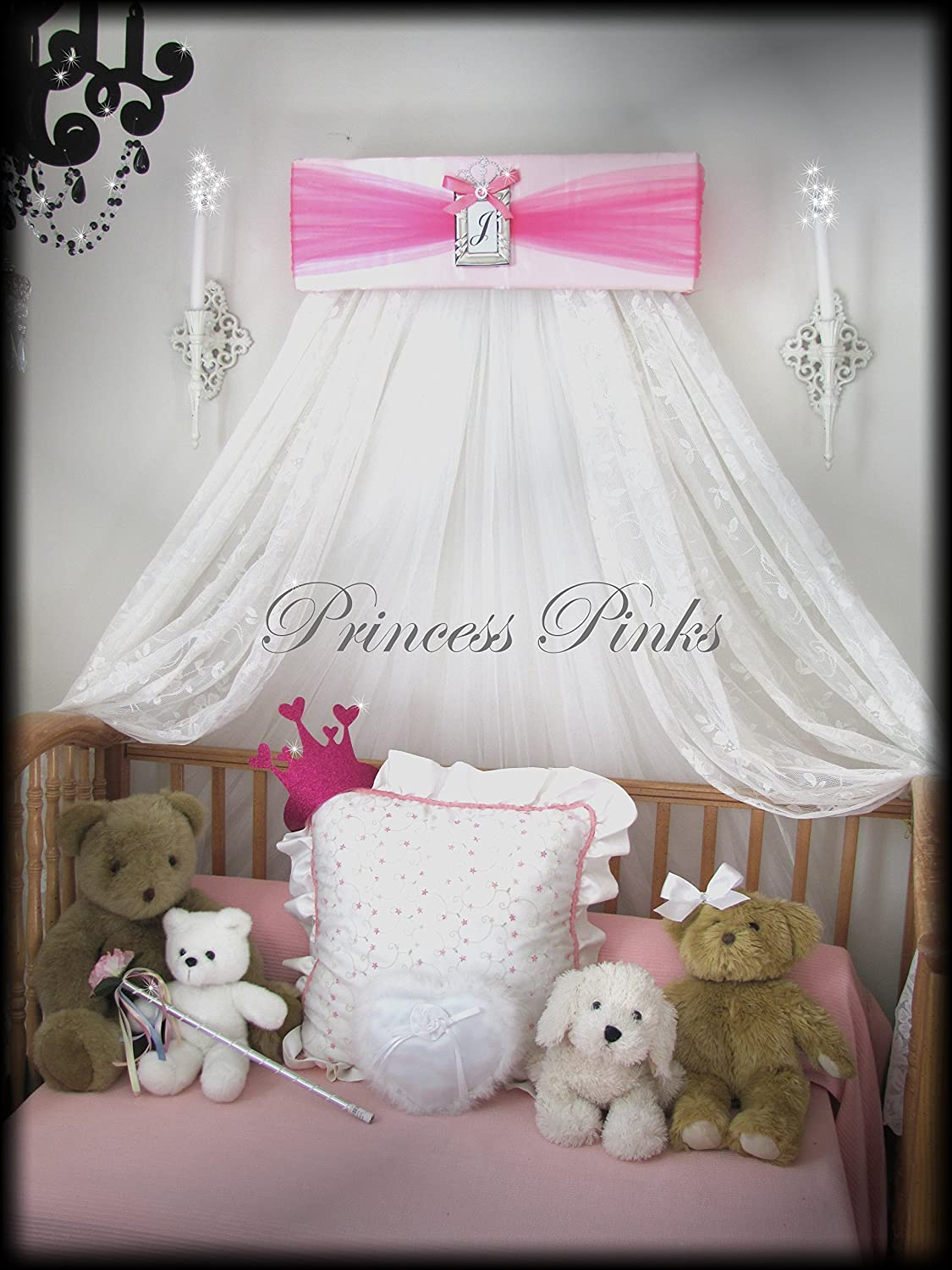 Princess Bed Canopy Crown Pink and Hot Pink FREE Initial Valance Upholstered By SoZoeyBoutique