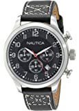 Nautica Men's Quartz Watch with Black Dial Chronograph Display and Black Leather Strap A14696G