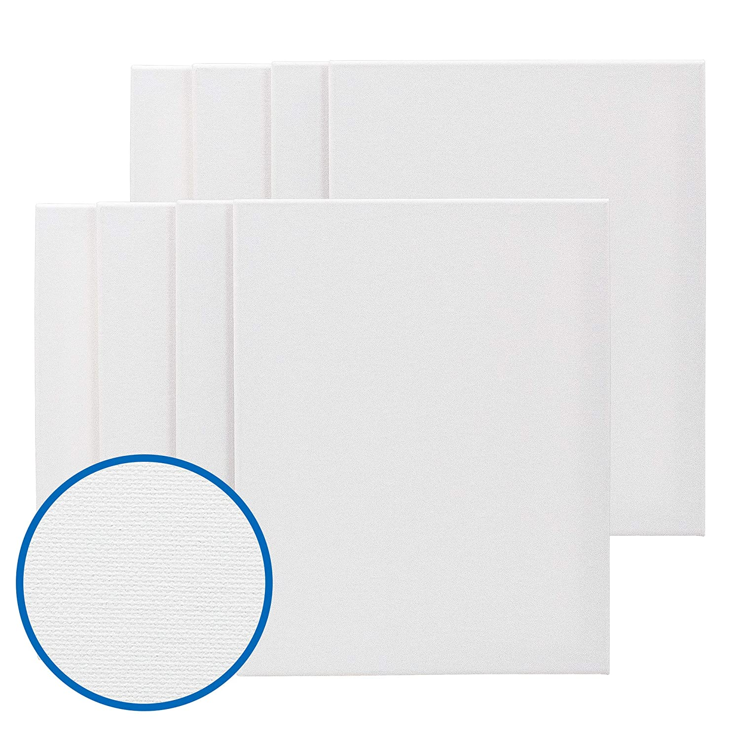 FIXSMITH Stretched White Blank Canvas 12x12 Inch,Bulk Pack of 8,Primed,100/% Cotton,5//8 Inch Profile of Super Value Pack for Acrylics,Oils /& Other Painting Media