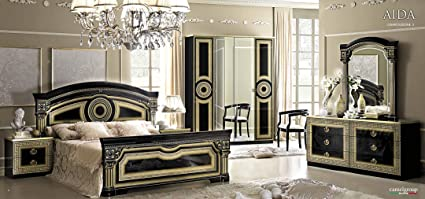 Beau ESF Aida Traditional Black Veneer With Gold Accents Classic Italian Queen  Size Bedroom Set