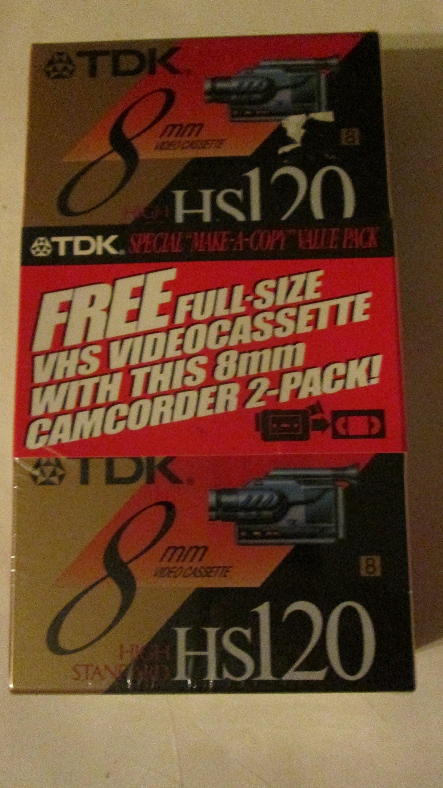 TDK HS120 8mm High Standard Blank Cassette 2-Pack w/ Bonus TDK T-120 Blank VHS Factory Pack by TDK