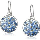 Sterling Silver Pressed Flower Circle Drop Earrings