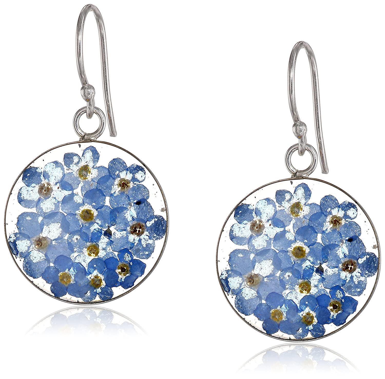 aa0d8df5d Amazon.com: Sterling Silver Blue Pressed Flower Circle Drop Earrings:  Jewelry