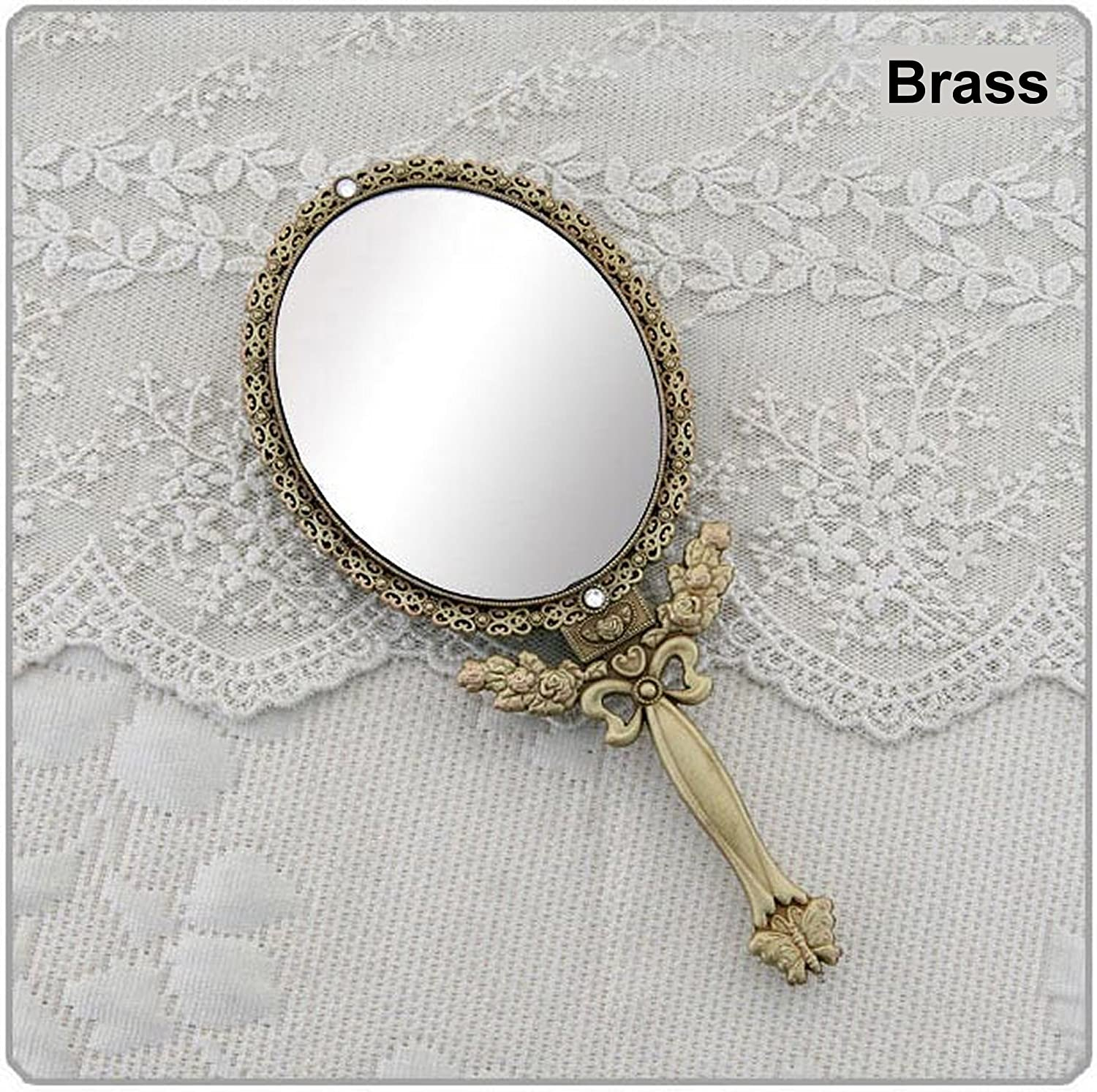 Butterfly Designed Double Sided Magnification Hand Held Makeup Metal Mirror Folding Handle Stand Travel Mirror Large, Brass