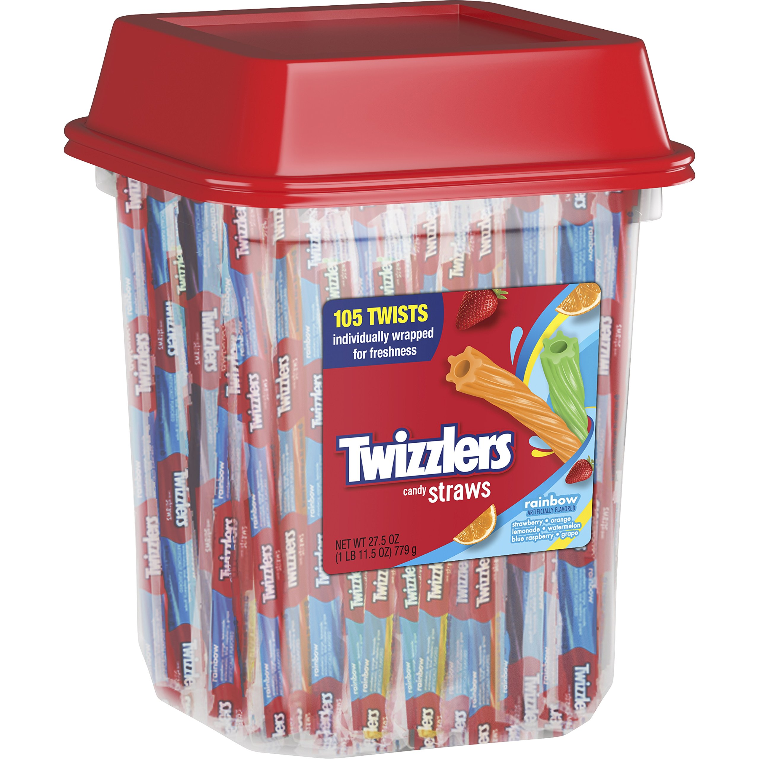 TWIZZLERS Licorice Candy, Rainbow Straws, 105 Count, 27.5 Ounce by Twizzlers