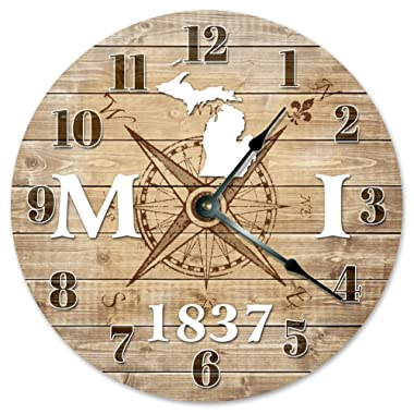 Sugar Vine Art Michigan Clock Established in 1837 Decorative Round Wall Clock Home Decor Large 10.5  Compass MAP Rustic State Clock Printed Wood Image