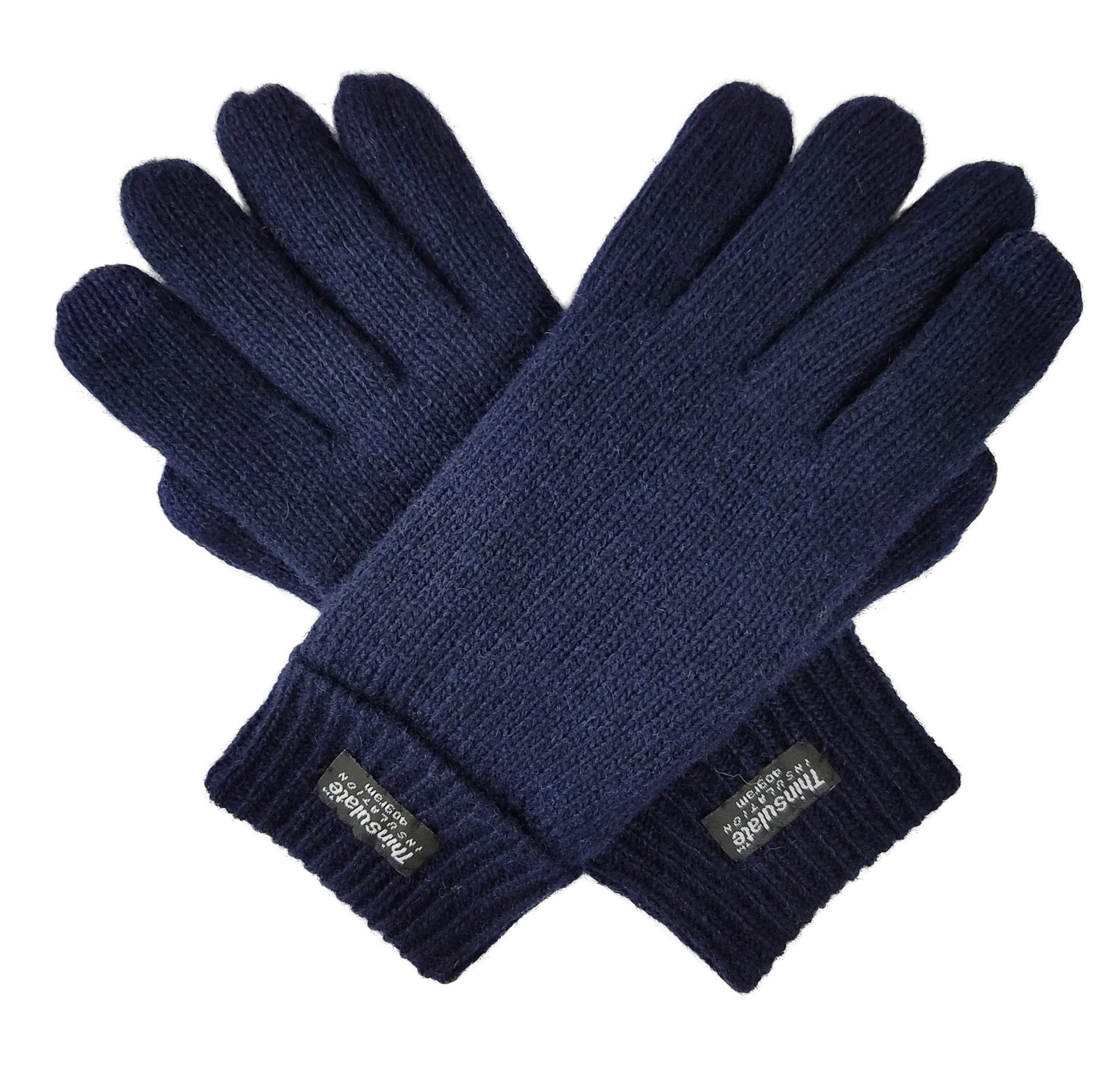 Bruceriver Ladie's Wool Knit Gloves with Thinsulate Lining Size L (Navy Touchscreen)