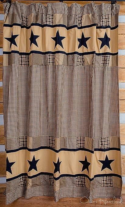 Olivias Heartland Jamestown Black And Tan Shower Curtain