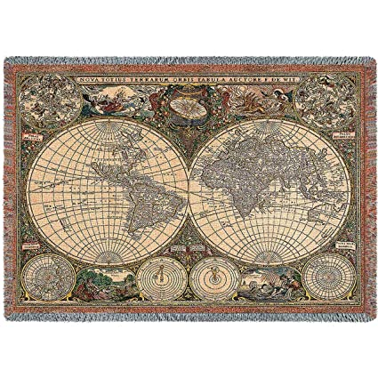 Amazon pure country weavers old world map blanket tapestry pure country weavers quotold world map blanketquot gumiabroncs Images