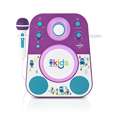 Singing Machine Kid's Mood LED Glowing Bluetooth Sing-Along Speaker with Wired Youth Microphone Doubles as a Night Light, Purple/Blue, (SMK250PB): Musical Instruments