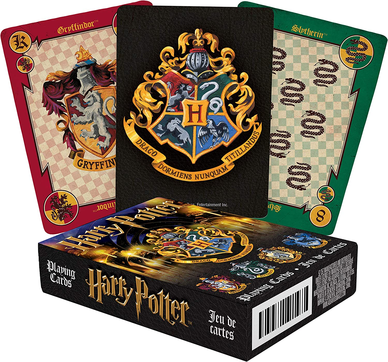 AQUARIUS Harry Potter Playing Cards - House Crests Themed Deck of Cards for Your Favorite Card Games - Officially Licensed Harry Potter Merchandise & Collectibles - Poker Size with Linen Finish