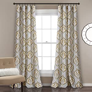 """Lush Decor Harley Room Darkening Window Curtain Panel Pair, 84"""" x 52"""", Yellow and Gray"""