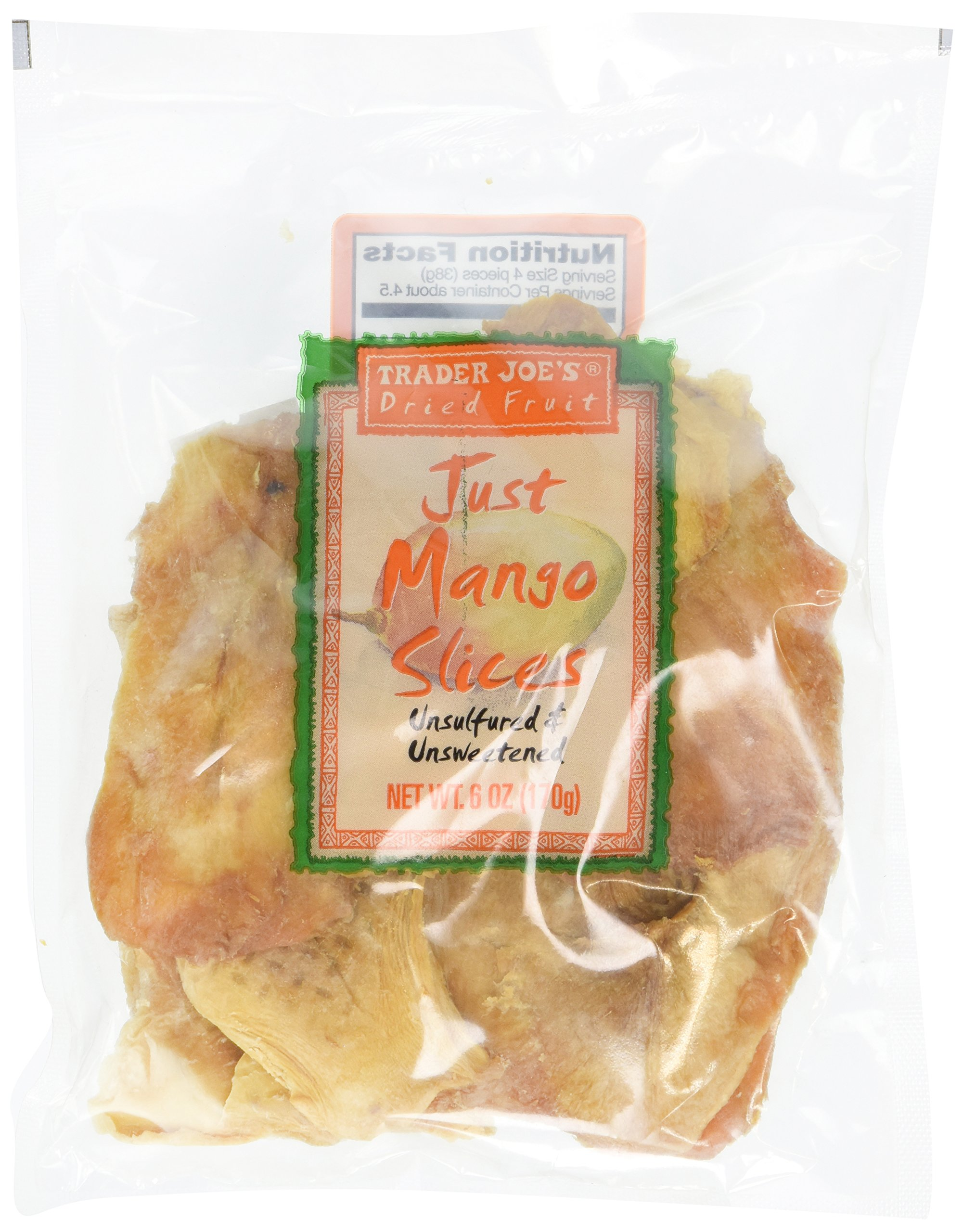 Trader Joe's Dried Fruit Just Mango Slices 6 ounces (Pack of 4) by Trader Joe's