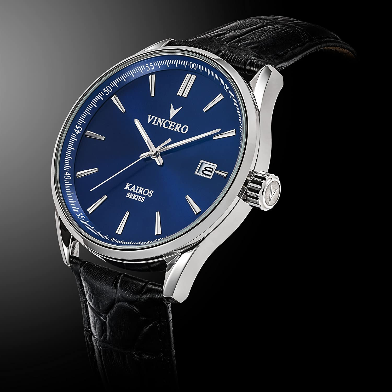 ece23485337 Montre bracelet de luxe Vincero Kairos pour homme - Noir Rose Or avec  bracelet en cuir noir - 42mm montre analogique - Mecanisme quartz japonais   Amazon.fr  ...